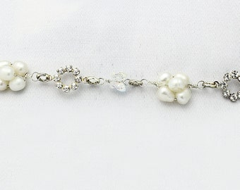20, 1 - White Pearls with Two Crystal Circles Bracelet