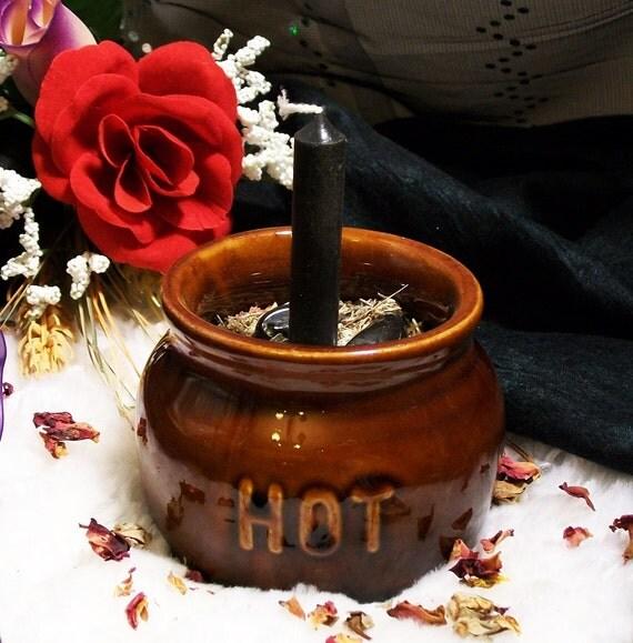 Brown Drip Hot Pot Hematite & Quartz Zen Garden Candle Holder