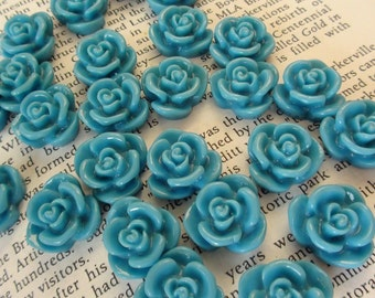 Light Blue Resin Flower Cabochon 15mm