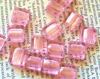 Square Shaped Foiled Glass Lampwork Beads