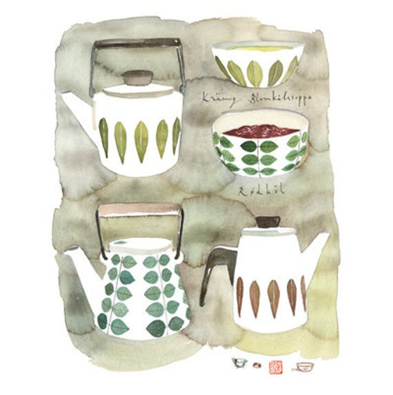 la cuisine scandinave poster aquarelle par lucileskitchen sur etsy. Black Bedroom Furniture Sets. Home Design Ideas