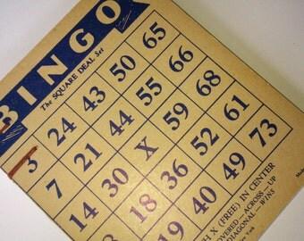 Coptic stitched sketchbook / journal - vintage bingo cards  - red thread