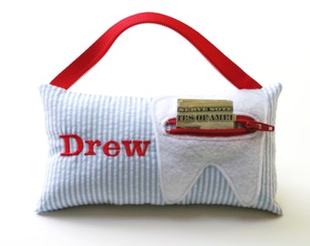 Preppy Boy's and Girl's Personalized Tooth Fairy Pillows
