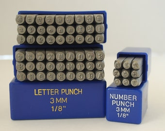 """Metal Stamp Set-Metal Stamping Kit in """"Typewriter"""" Font,3mm, Combo Set Upper, Lower and Numbers-Stamping Supplies by Metal Supply Chick"""