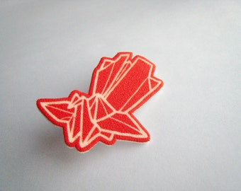 Red Japanese Phoenix origami brooch Shrinky Plastic