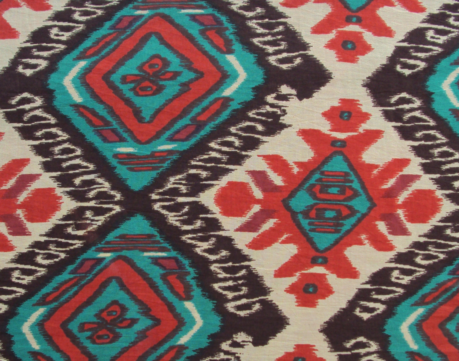 Cotton Fabric Print aztec tribal ikat style print in