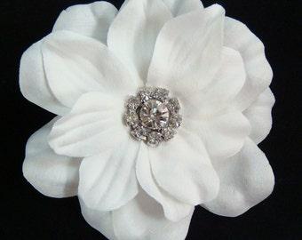 Bridal White Hair Flower with vintage style rhinestone centerpiece / pure white flower hair clip bridesmaid bridal flower comb