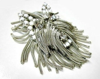 Vintage Rat Tail Mesh Dog Brooch Rare Figural Pendant Unsigned Dominique Chain Hair Rhinestone Gift for Her Collectible Designer Jewelry