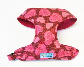 Pink Heart Comfort Soft Dog Harness. - Made to Order -