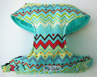 Turquois Zig zag, Chevron Comfort Soft Harness. - Made to Order -