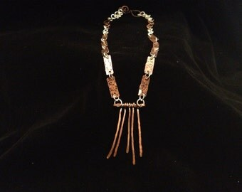 Winter Twig hand forged copper and sterling silver necklace