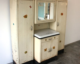 Vintage 1920's Steel Kitchenette with Enamel Top Storage cabinet
