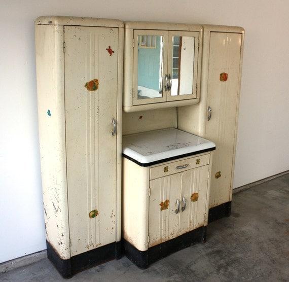 Vintage 1920 S Steel Kitchenette With Enamel Top Storage