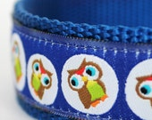 Tossed Owls Dog Collar / 1 inch width for big dogs