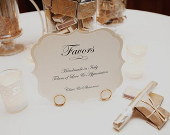 Wedding Sign Large Romantic Vintage Label Design Elegant Script Font Custom Wording Custom Colors  8 x 6.5 Size for your Wedding Reception