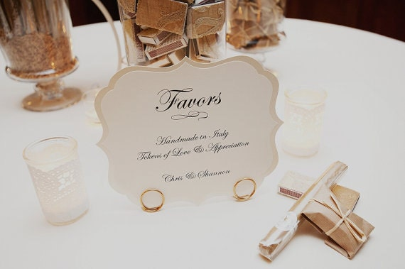 Verses For Wedding Gifts: Wedding Sign Large Romantic Vintage Label Design Elegant
