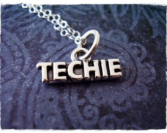 Silver Techie Necklace - Sterling Silver Techie Charm on a Delicate Sterling Silver Cable Chain or Charm Only