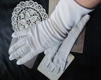 Gloves - Long Vintage Beige Stretch Nylon Gloves - 12 Inches (G49)
