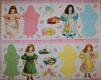 A Wonderful Blue Hill Paper Doll Victorian Fabric Panel Free US Shipping
