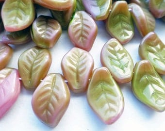 50 Czech Glass Leaf Beads in Opaque Rose Olive Bi Color    size 9x14mm
