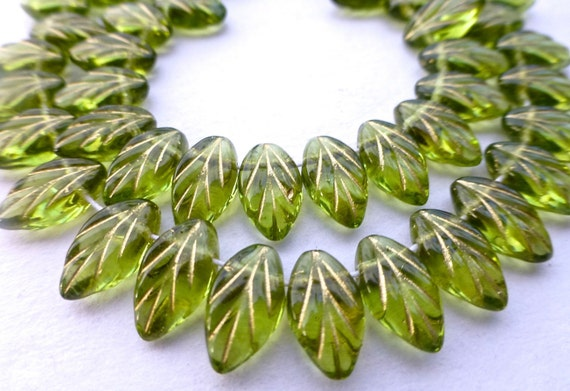 50 Transparent  Olive Green Czech Glass Leaves with Gold Size12x7mm