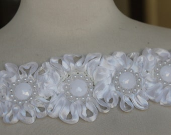 Very Cute  beaded flower    applique white  color 10 inch long   2.5 wide