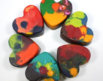Back to School 6 Recycled Heart-Shaped Crayons - mixed colors - party favor, reuse, repurpose, school supply, earth day, pre-school