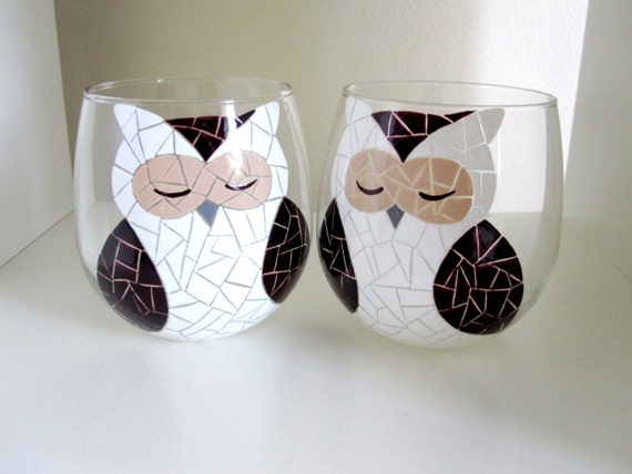 Mosaic Brown Forrest Owl Hand Painted Wine Glasses - Set of Two (With Stems or Stemless)