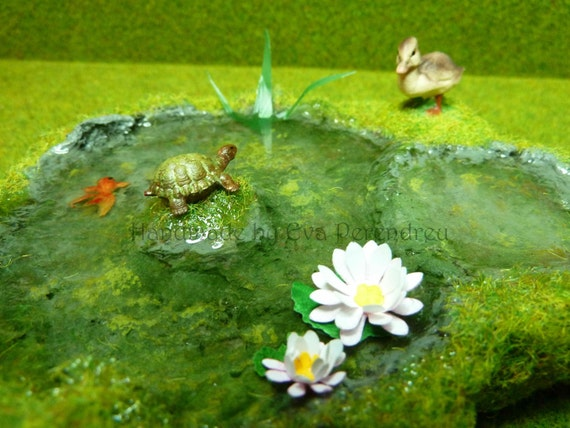Miniature Pond With Duckling Golden Fish Turtle For