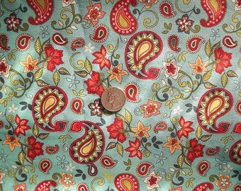 Beautiful Paisley Floral Print very colorful 100% Cotton Fabric Sold by the 1/2 Yard