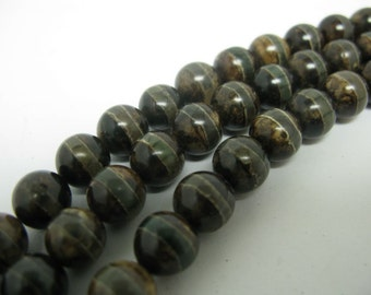 39 pcs 10mm round smooth hand print Tibetan agate beads