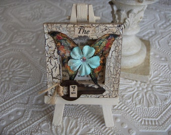 Miniature Mixed Media Collage Butterfly Canvas Old Key/Paper Flowers/Vintage Dictionary on Easle