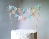 Cake bunting Wedding Cake topper Birthday Party Champagne, Ivory, Aqua