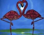 Flamingos Abstract Animal Giclee Archival Art Print