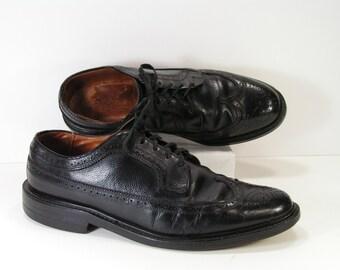 vintage wingtip dress shoes mens 10 D C black oxford brogue leather