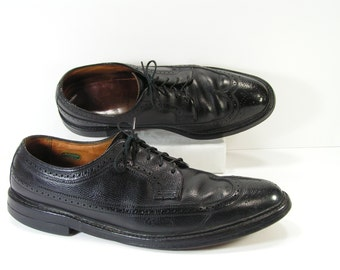 florsheim imperial wingtip dress shoes mens 11 D C black oxford brogue leather