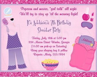 Slumber Party Invitation, Pajama Party, sleepover invite, pj party invite, pajama party birthday, pj party theme, tween party  -Digital File