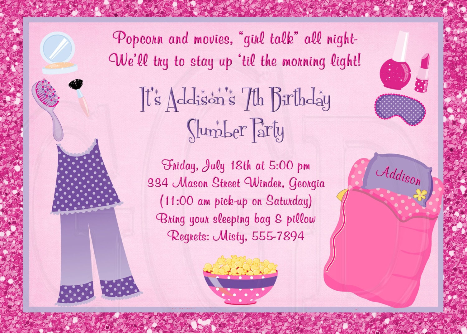 Slumber Party Invitation Pajama Party Digital File – Pajama Party Invites
