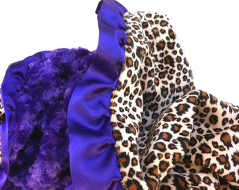 Minky Baby Blanket- Hot Pink Minky Back- Purple Ruffle-kid/lap size