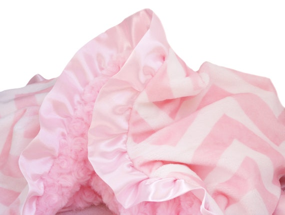 Pink Chevron Minky Baby Blanket With Satin Ruffle Trim