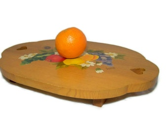 Vintage Wooden Serving Tray Rustic Primitive Fruit Decor