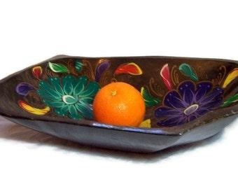 Vintage Wood Centerpiece Bowl Mexican Batea Folk Art Rustic