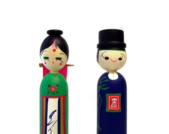 Vintage Kokeshi Dolls Mod 1960s 1970s Cake Toppers Man and Woman