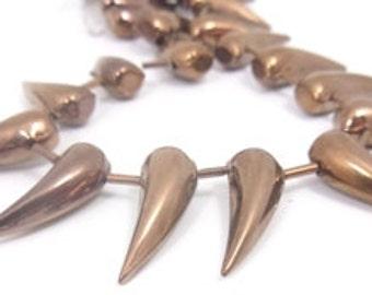 12 pcs. large teeth drops  glass Beads  ,  10X28mm ,  Metalic Bronze
