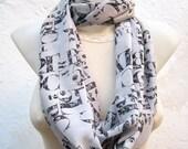 Book Scarf,infinity scarf,Loop scarf,Chiffon scarf,Circle Scarf