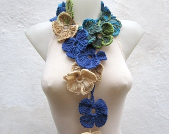Handmade crochet Lariat Scarf  Blue Green Cream Flower Lariat Scarf Colorful Variegated Long  Valentines gift Necklace  winter fashion