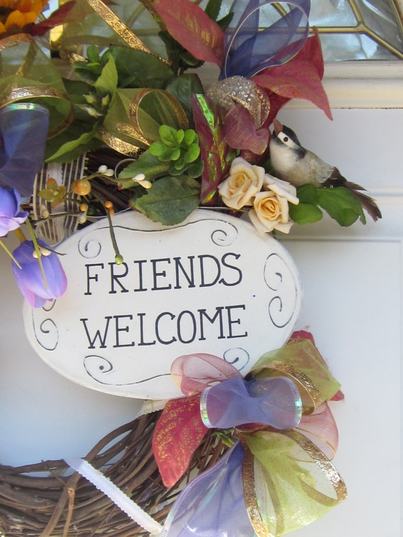 FRienDs Welcome Front Door OOAK Vintage Bird Home Decor Wreath
