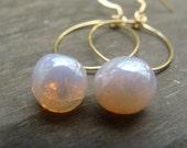 Czech Glass Teardrop Hoop Gold Earrings