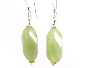Light Green Serpentine Twists Sterling Silver Earrings