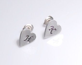 Initial earrings, silver heart earstud with hand stamped intials, personalized jewelry, personalized post earrings with sterling silver post